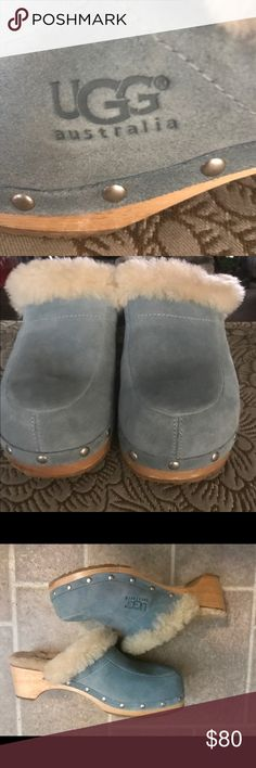 UGG Baby Blue Clogs (NEW-IN CLOSET) Uggs are brand new but been in my closet for a few years and I no love longer have the box. My husband bought them for my birthday but my feet are too wide for these clogs so they never fit right on me.  I think my husband paid over $140 at that time so I'm pricing this shoe reasonably based on the maker, UGG and its not been worn and is new. So other than a little dust its very new. UGG Shoes Mules & Clogs