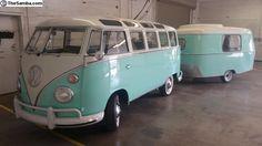 Ryan Gardner's 1963 VW 23 Window with Eriba Puck camper! Camping would be nice in this Angie ! Volkswagen Transporter, Volkswagen Bus, Vw Camper, Transporter T3, Vw T1, Volkswagen Beetles, Retro Caravan, Vw Caravan, Tow Behind Camper