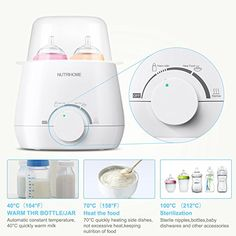 Baby Bottle Warmer Steam Sterilizer 3-in-1 with Accurate Temperature Control in 5 Scales - Quickly Milk Warmer Evenly Heating Baby Food : Baby