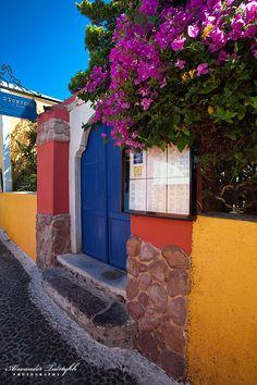 Colours in Fira main path, Santorini , Greece