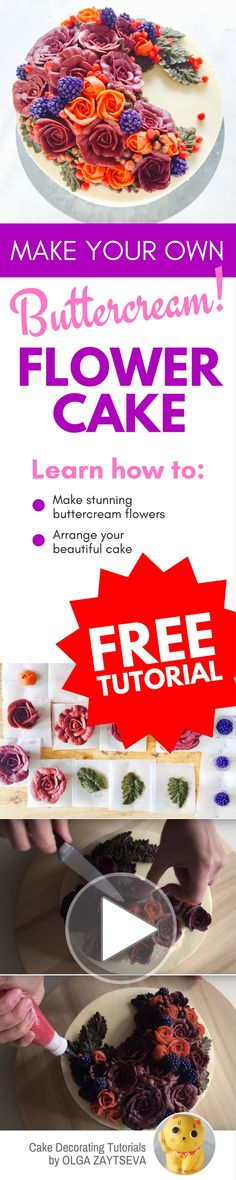 How to make Buttercream Fall Harvest Time Flower Wreath Cake - Cake decorating tutorial by Olga Zaytseva. Learn how to make buttercream roses, pipe berries and create this flower wreath cake. Just perfect for Fall. #cakedecorating #cakedecoratingtutorial #buttercreamflowercake #buttercreamflowers