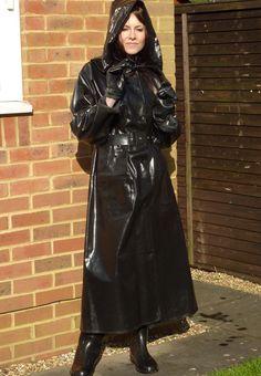 Rubber Raincoats, Rain Wear, Black Rubber, Belt Buckles, Vintage, Style, Fashion, Cowl, Moda