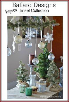 Silver and gold mercury glass Christmas decorations are lovely with a Ballard Inspired Tinsel Stick knock off. See all of the Rock Your Knock Off Tour here