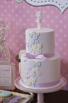 Cake at a Cute as a Button 1st Birthday