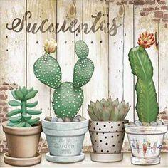 Decoupage Paper French Art Litoarte Pots with Cacti - Typi . - Decoupage Paper French Art Litoarte Pots with Cacti – Typical Miracle Best Pictur - Cactus House Plants, Cactus Wall Art, Cactus Decor, Indoor Cactus, Cactus Cactus, Cacti, Cactus Drawing, Cactus Painting, Watercolor Illustration