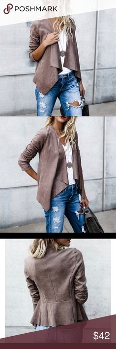 Coming soonFaux Suede Open drape jacket Faux suede open drape jacket available in brown or gray! Chic and trendy this is a must! Jackets & Coats