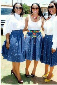 Shweshwe and Shoeshoe Traditional Dresses 2019 ⋆ African Dresses For Women, African Attire, African Wear, African Fashion Dresses, African Women, Xhosa Attire, African Print Skirt, African Print Dresses, African Print Fashion