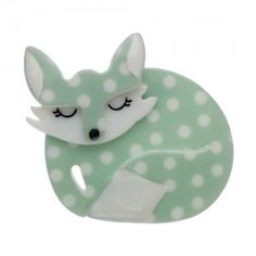 "Limited Edition Sacha Sleeping Fox Brooch in mint polka dot. ""Curled into the corner of a green sloping hill... lay Sacha the sleeping fox... dozing peacefully after her evening fill."""