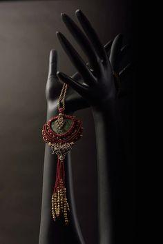 hypnotist green jasper macrame necklace-Tribal micro by BOHOREINA