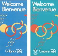 "Welcome – Calgary 1988 Olympic Posters    Design:  Client: OCO  Date: 1988    © OCO/COC  The interlocking letter forms (Os for Olympics, Cs for Calgary) and the 88 word mark reference both the Olympic rings and the Calgary'88 theme, ""Come Together in Calgary"".  -Michael Erdmann"