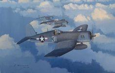 Long Patrol  F4U-1 Corsairs of VF-17, including Lt Ray Beacham.