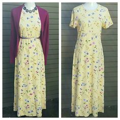"""Flower T-Shirt Dress Comfy and stylish.  ●Laid Flat: Roughly 54"""" length from shoulder to hem; 37"""" (doubled) underarm to underarm; 35"""" (doubled) waist; 40"""" (doubled) hips. According to designer's size chart a Medium is equivalent to a 10 - 12 size. ●100% cotton.  ●Colors: Yellow, pink, blue/lavender, green, white.  ●All accessories, shoes and sweater shown are not for sale.  ●Like - New condition!  ●BUNDLE FOR SAVINGS! Coldwater Creek Dresses"""
