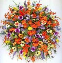Summer till Fall Wreath~Wildflower,Full & Handmade,Pansy~Hummingbird~Butterflies #Handmade