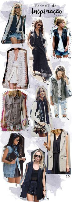 Painel de inspiração de looks usando colete de vários tipos e maneiras. Blog de moda como usar - Outfits with vest