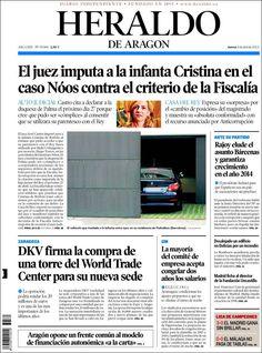 Los Titulares y Portadas de Noticias Destacadas Españolas del 4 de Abril de 2013 del Diario Heraldo de Aragón ¿Que le parecio esta Portada de este Diario Español?