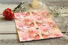 Pink love birds wedding stationery