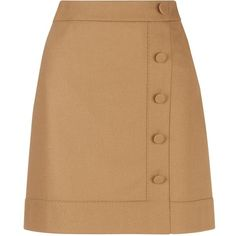 Hobbs Frances Skirt, Camel ($105) ❤ liked on Polyvore featuring skirts, a line skirt, a-line button front skirt, knee length a line skirt, camel a line skirt and panel skirt