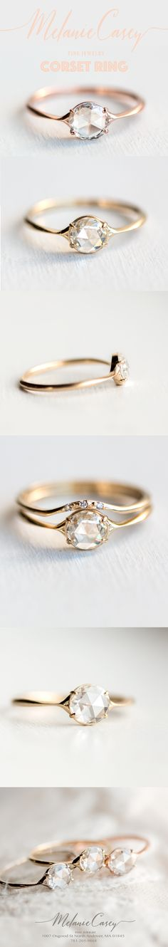 minimalist ring, timeless ring, rose cut engagement ring, antique ring, vintage ring, whimsical ring, dainty ring, feminine ring, elegant ring, gold ring, white diamond ring, delicate ring, handmade ring, stunning ring, wedding ring, Melanie Casey ring, perfect ring, vs1 ring, halo ring, vintage jewelry, antique ring, vintage inspired ring, antique inspired ring, fairytale ring, magical ring, handmade jewelry, jewelry made in the USA, made with love, created for quality, diamond corset ring
