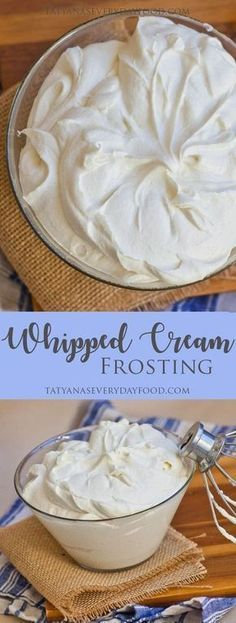 Cream Frosting (video) Whipped cream frosting made with butter, cream cheese and sweetened condensed milk. View Recipe LinkWhipped cream frosting made with butter, cream cheese and sweetened condensed milk. Köstliche Desserts, Dessert Recipes, Icing Recipes, Cake Recipes, Nutella Recipes, Cupcake Creme, Tatyana's Everyday Food, Icing Frosting, Whipped Buttercream Frosting
