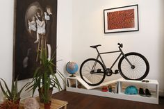 Bike Storage That's Actually Gorgeous Furniture — Design News (Apartment Therapy Main) Bike Storage Bookshelf, Bike Storage Furniture, Bike Shelf, Furniture Design, Shoe Storage, White Furniture, Indoor Bike Storage, Indoor Bike Rack, Bicycle Storage