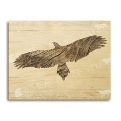 Driftwood eagle art print on wood beach art by bigbearandthewolf