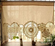 Boho Vintage Crochet Doilies Shabby French Chic Window Cafe Curtain Lace Cream | eBay