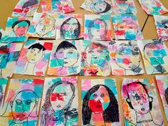 Paul Klee inspired self-portraits. Done in sharpies, with correct proportions - then with color bleeding tissue paper added on top, and later removed. Photo & idea from thetalkingwallsmurals.blogspot