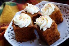 Pumpkin Gingerbread Cake (or Cupcakes) with Spiced Cream Cheese Frosting  Makes 18 servings  Printable Recipe    Ingredients  1 package (18 1/4 ounces) yellow or spiced cake mix  1 package (4-serving size) vanilla instant pudding mix  1 cup pumpkin puree  1/2 cup oil  1/2 cup water  3 eggs  1 1/2 teaspoons cinnamon, ground  1 teaspoon ground ginger  1 teaspoon cloves, ground  1 teaspoon pure vanilla extract    Directions  Preheat oven to 350°F. Beat all ingredients, except Spiced Cream…
