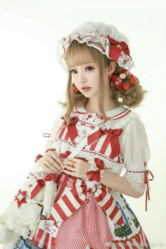 This would also be cute with tartan replacing the candy cane, and berries/holly clip ❤ Harajuku Fashion, Japan Fashion, Kawaii Fashion, Lolita Fashion, Quirky Fashion, Cute Fashion, Doll Style, Cute Kawaii Girl, Mode Lolita