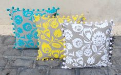 White Khari pillow cover linen pillow cover folk print by VLiving