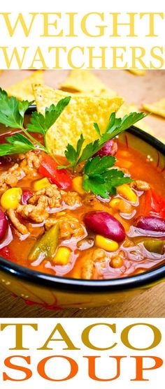 Taco Soup is one of the easiest Weight Watchers recipes to make and it is so full of flavor you won't even think about being on a diet. Enjoy a healthier way of eating and our easy Taco Soup recipe.