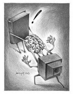 Fight pseudo: books or television / Pelea pseudointelectual: libros o televisión (ilustración de Brunóf) Pierre Bourdieu, Meaningful Pictures, Satirical Illustrations, Social Art, Art And Illustration, I Love Books, Book Lovers, Book Worms, Book Art