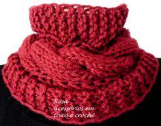 gola tricô vermelha com trança- cowl- tricot- knit by www.rosaacessorios.blogspot.com