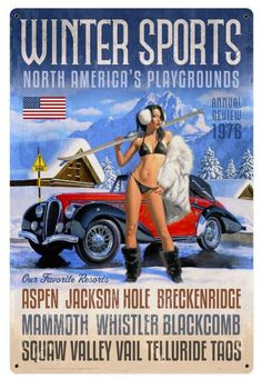 Vintage and Retro Tin Signs - JackandFriends.com - Winter Sports Metal Sign 24 x 36 Inches, $96.98 (http://www.jackandfriends.com/winter-sports-metal-sign-24-x-36-inches/)