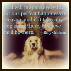 God will prepare everything for our perfect happiness in heaven, and if it takes my dog being there, I believe hell be there. --- Billy Graham  Looking forward to my dog Gabriel and my sister greeting me in Heaven.