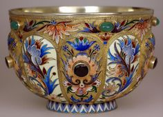 Imperial Russian large silver-gilt and shaded cloisonne enamel jeweled bowl (bratina) by Nicholas Alexeev, made in Moscow around 1890