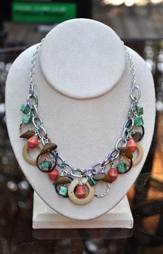 Jewelery - Necklaces - Mixed media Fall necklace 18 inches long with matching earrings by JewelryArtByGail