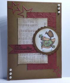 handgefertigte Weihnachtskarte Image von Laurie Furnell 17 mal 12 cm versch. Techniken distressed, stamped, layered, embossed