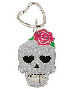 Betsey Johnson Key Chain, Silver-Tone Glitter Skull Key Chain - Fashion Jewelry - Jewelry & Watches - Macy's