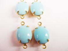 Vintage Light Blue Oval Glass Stones in Brass by brassgoldbeads