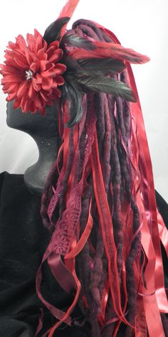Maroon, Burgundy, and Crimson ELF Woolie Fairy Dreadlocks and Ribbons Fall. $ 50.00, via Etsy.