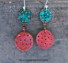 Pierced copper circle earrings w/ green and red copper discs/ rainbow Hematite/ silver/ tribal style/ boho/ art jewelry/ OOAK/ Gifts for her by CopperLarkStudio on Etsy Copper Jewelry, Jewelry Art, Jewellery, Dangly Earrings, Circle Earrings, Tribal Fashion, Boho Fashion, Ancient Artefacts, Tribal Style