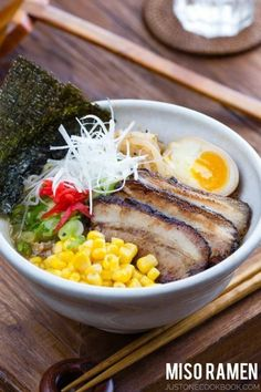 Miso Ramen Recipe 味噌ラーメン - Love ramen? Then try this quick and delicious homemade miso ramen with pork and chicken broth, top with chashu, ramen egg, and corn! #misoramen #ramennoodle #japanesefood #asianrecipes #noodlesoup #japanesenoodles | Easy Japanese Recipes at JustOneCookbook.com