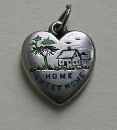 Victorian Enameled Home Sweet Home Sterling Heart Charm.