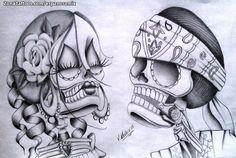 Skull Couple Tattoo, Day Of The Dead Skull Tattoo, Skull Tattoo Flowers, Flower Skull, Chicanas Tattoo, Knee Tattoo, Sugar Skull Artwork, Sugar Skull Drawings, Nail Art Printer