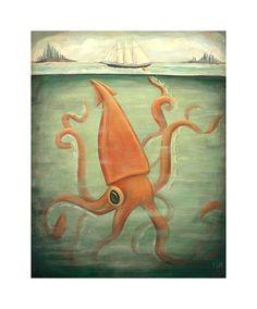 Kraken Underneath / Large Print 11x14 by theblackapple on Etsy, $35.00