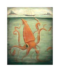 Kraken Underneath Print 8x10 by theblackapple on Etsy, $16.00