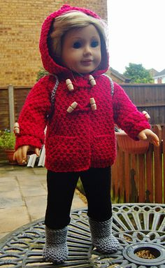 "Ravelry:  American Girl Duffel Coat Duo by Jacqueline Gibb (Written instructions for:  a Cosy 3/4 Length Hooded Duffel Coat with Pockets, Cuff Strapps & ""Frog"" Buttoning, Cropped Leggings, a Duffel Bag, & BOOTS.  There are also instructions for a sleeveless version which makes for a whole new  pattern for a Sleeveless HOODIE complete with a Headband & Wristbands.)"