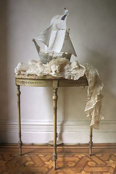 Papier mache boat by Ann Wood Ann Wood, Pirate Party, Paper Lanterns, Diy Paper, Textile Art, Diy Crafts, Crafty, Tumblr, Handmade