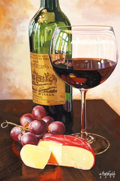 Wine Painting, Food Painting, Wine Bottle Art, Wine Art, Still Life Drawing, Still Life Art, Still Life Photos, In Vino Veritas, Kitchen Art